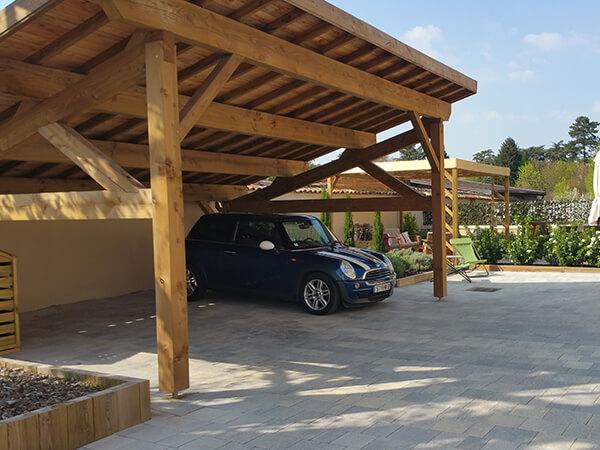 Carport bois naturel