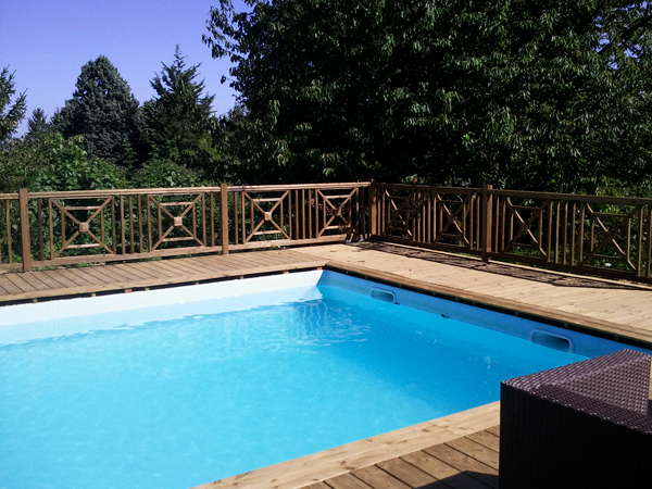 Terrasse piscine en bois naturel - 100% Français